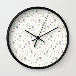 Seamless pattern with native American symbols Wall Clock