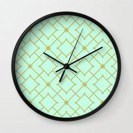 Pastel Mint Stars and Squares Lattice Wall Clock