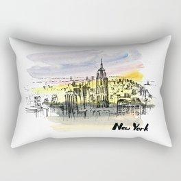 New York. Watercolor and ink. Rectangular Pillow