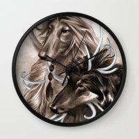 the hound Wall Clocks featuring Hound Dog by Estúdio Marte