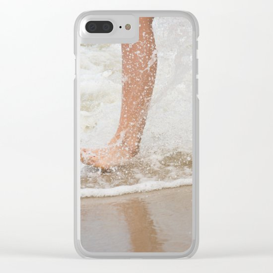 Running on the beach Clear iPhone Case