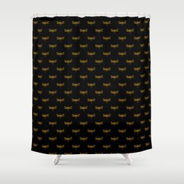 Golden Dragonfly Repeat Gold Metallic Foil on Black Shower Curtain