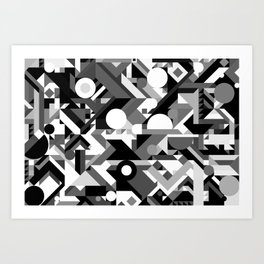 GEOMETRY SHAPES PATTERN PRINT (BLACK AND WHITE COLOR SCHEME) Art Print