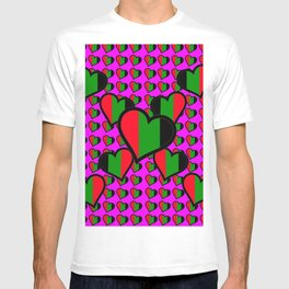 Black Hearts in Pink T-shirt