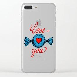 I love you (blue) written in red Clear iPhone Case