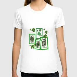 ROYAL COURT IN GREEN IRISH CLOVER CASINO PLAYING CARDS  T-shirt