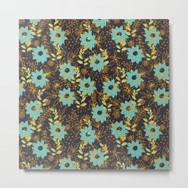 Flowery and Golden Pattern Metal Print