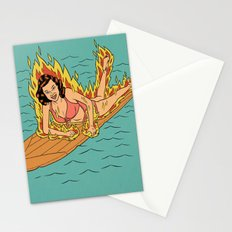 Flaming Surfer Girl Stationery Cards