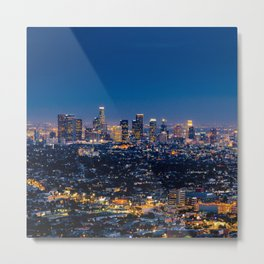 Los Angeles, California, I love LA Downtown Skyline, Golden lights, USA Sunset Blvd, Palms, Cali Map Metal Print