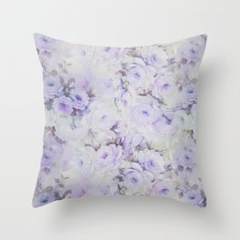 Vintage lavender gray botanical roses floral Throw Pillow