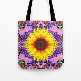 ABSTRACTED PURPLE-GOLD  SUNFLOWER ART Tote Bag