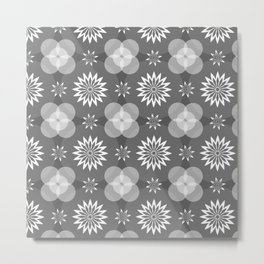 Grey Circles and Flowers Pattern Metal Print