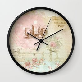 Pretty Vintage Pink Ephemera and Floral Collage Wall Clock