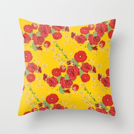 Red poppies and roses on yellow Throw Pillow