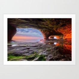 Sea Cave Sunset on Lake Superior Art Print