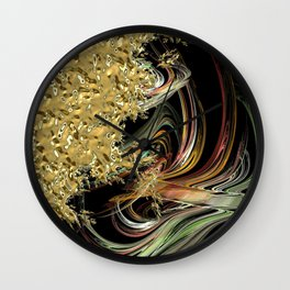 Golden Abstractions Wall Clock
