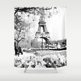 Black and White Eiffel Tower Watercolor Shower Curtain