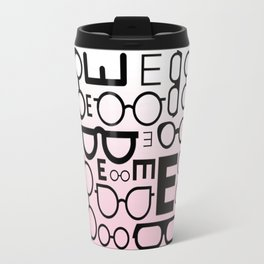 Eye Chart Eyeglasses Pink and Black Travel Mug
