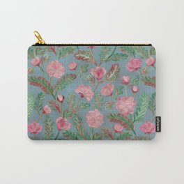 Soft Smudgy Pink and Green Floral Pattern Carry-All Pouch