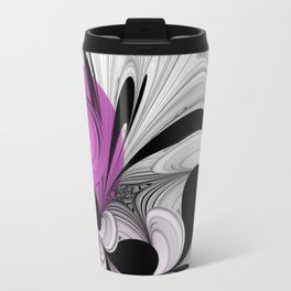 Abstract Black And White With Orchid Travel Mug
