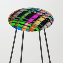 inclined coloured stripes with shadows Counter Stool
