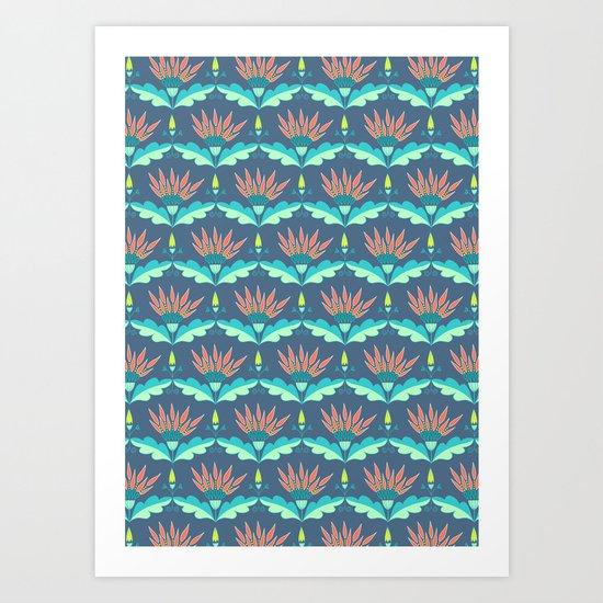 Midnight lilies Art Print