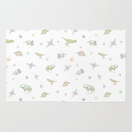 Hand drawn pattern with dinosaurs. Сolored pencils, white background. Rug