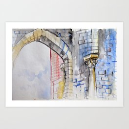 Colorful watercolor painting with classical building detail Art Print