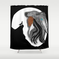 coyote Shower Curtains featuring Coyote Moon by Christina Dugger