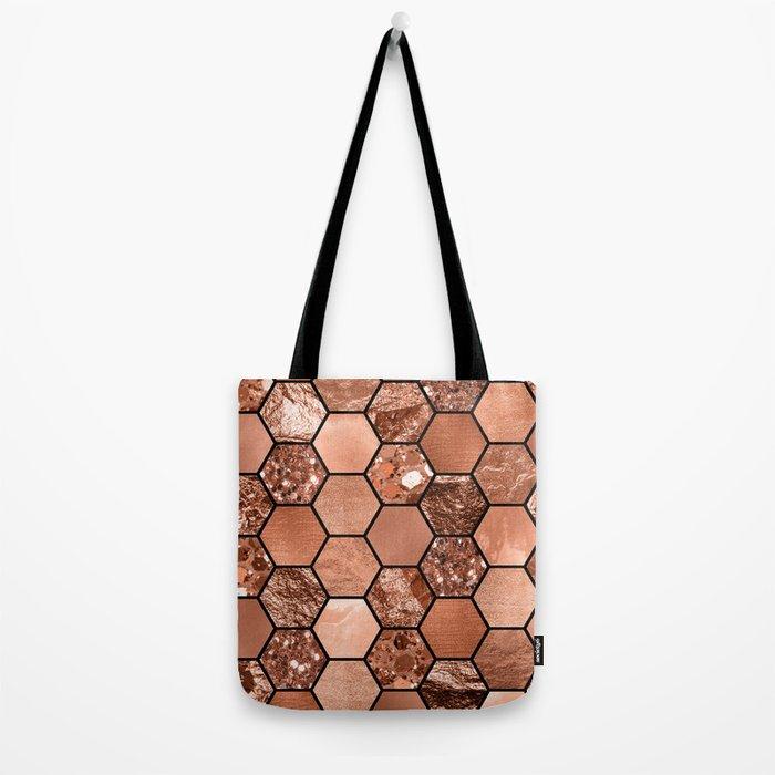 Rose gold hexaglam Tote Bag
