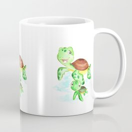 turtle baby and mom, nautical wall decor, ocean themed nursery, sea turtle, sea animals watercolor Coffee Mug
