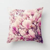magnolia Throw Pillows featuring Magnolia by Juste Pixx Photography