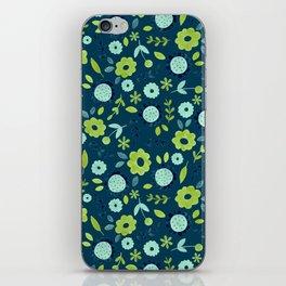 Apple green & Dark blue flowers iPhone Skin