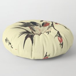 Moon Swallows and Peach Blossoms Floor Pillow