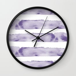 Watercolour Stripes in Violet Wall Clock