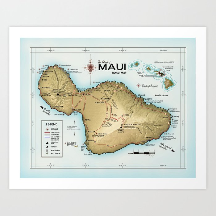 photo regarding Maui Map Printable called Maui [Atlas Influenced] Facts of Attention Street Map Artwork Print by means of kokuadesigncompany