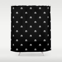 pacman Shower Curtains featuring Pacman Ghost by TheSmallCollective