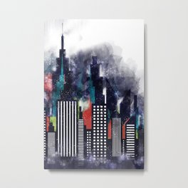 Colorful City Buildings And Skyscrapers In Watercolor, New York Skyline, Wall Art Poster Decor, NYC Metal Print