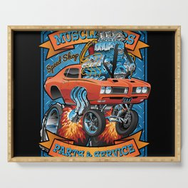 Classic Sixties Muscle Car Parts & Service Cartoon Serving Tray