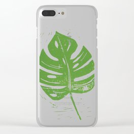Linocut Leaf Clear iPhone Case