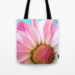 Beautiful Pink Flower Macro, Turquoise Blue Backdrop Tote Bag