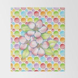 Apple Blossom Polka Dots Throw Blanket