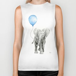 Baby Animal Elephant Watercolor Blue Balloon Baby Boy Nursery Room Decor Biker Tank