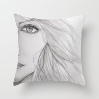 emma stone Throw Pillows featuring Emma Stone Drawing by Olivia Scotton