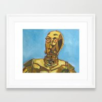 c3po Framed Art Prints featuring C3PO by Dani Brandimarte