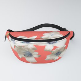 Blue Heart Lilies on Living Coral Fanny Pack