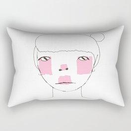 Line Drawing of Girl with Bun  Rectangular Pillow