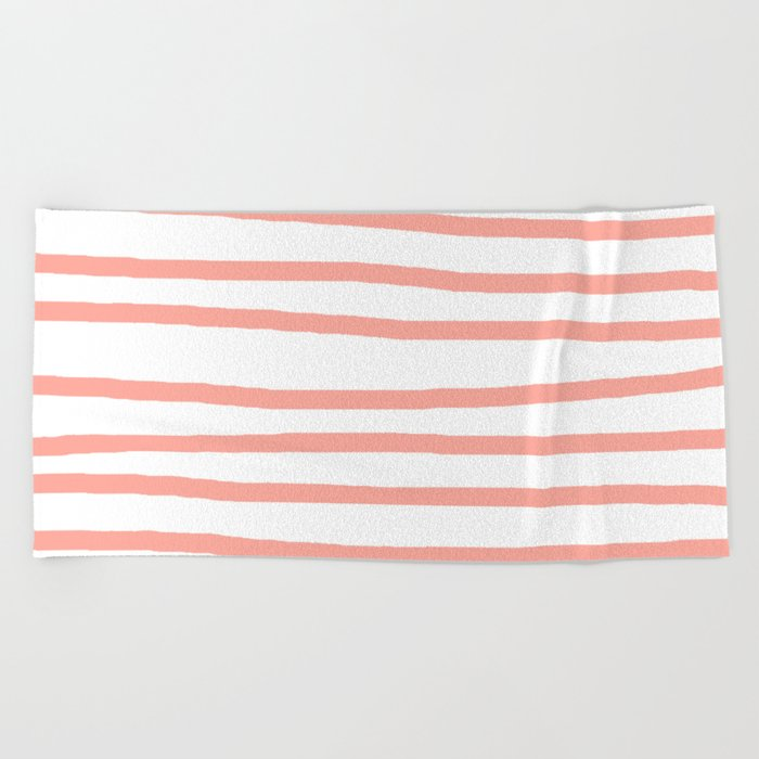 Simply Drawn Stripes Salmon Pink on White Beach Towel