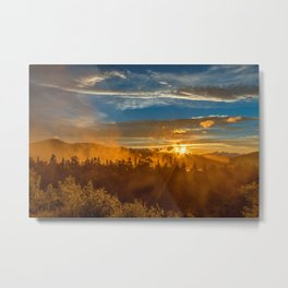 Misty Gold Mountain Sunset Metal Print