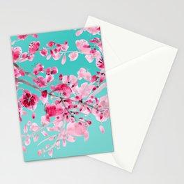 Cherry Blossom Aqua Stationery Cards
